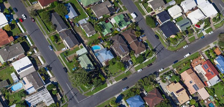 Birds-eye view of a neighborhood